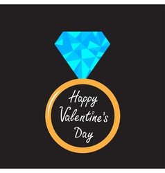 Wedding ring with blue diamond valentines day vector