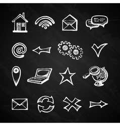 Internet chalkboard icons vector