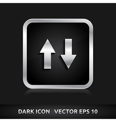 Data icon silver metal vector