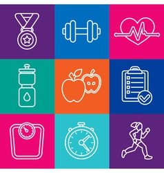 Set of fitness icons and achievement badges vector