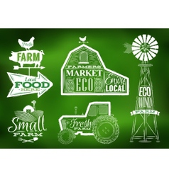 Farm vintage green vector