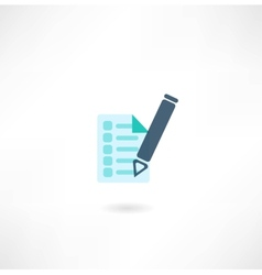 Pen with document icon vector