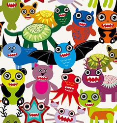 Cute cartoon monsters seamless pattern on a white vector