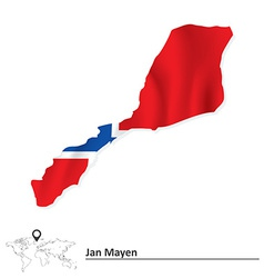 Map of jan mayen with flag vector