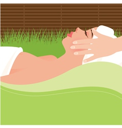 Girl doing massage in the spa salon vector