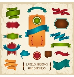 Labels ribbons and stickers vector