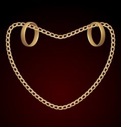 Jewelry two rings on golden chain of heart shape vector