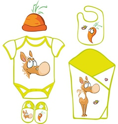 Cute baby layette with cute horse and carrot - vector