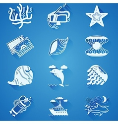 White underwater icons vector