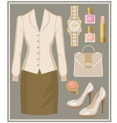 Fashion set with a blouse and a skirt vector