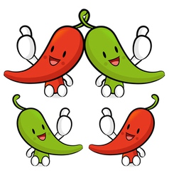 Red pepper character couples are welcome to sit vector