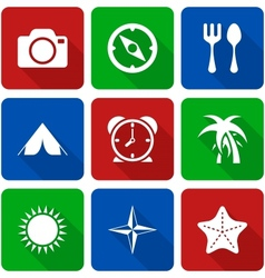 White travel icons with long shadows vol 2 vector