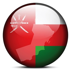 Map on flag button of sultanate oman vector