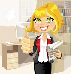 Pretty business woman in office show ok vector