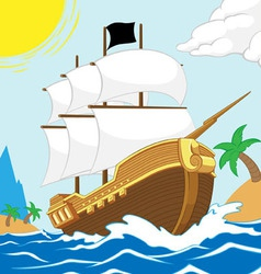 Pirate ship on the shore square frame vector