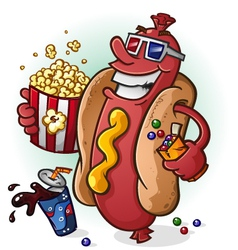 Hot dog at the movies cartoon character vector