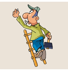 Cartoon man standing on a ladder with a hammer vector