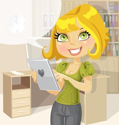 Pretty business woman in office with tablet vector