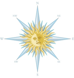Wind rose with the image sun face vector