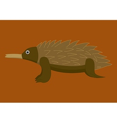 A of a an australian echidna on brown background vector