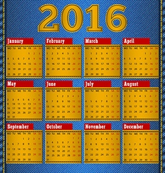 Calendar for 2016 leather patch on denim vector