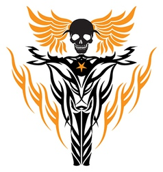 Skull on a motorcycle vector