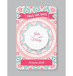 Perfect wedding template with doodles tribal theme vector
