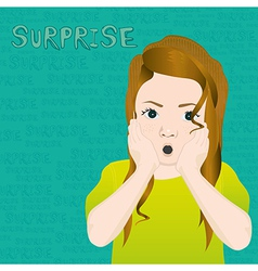 Girl with an expression of surprise on background vector