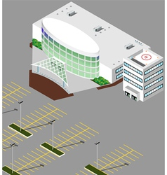 Isometric hospital buildings vector