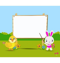 Happy easter card with chick and rabbits nearby vector
