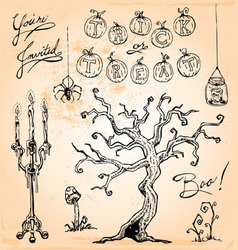 Vintage halloween hand drawn set four vector