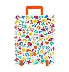 Travel suitcase of summer icons vector
