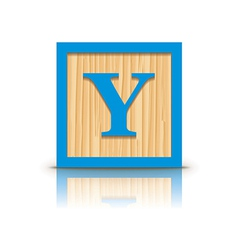 Letter y wooden alphabet block vector