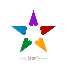 Rainbow star made of hearts on white background vector
