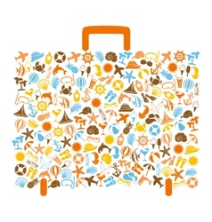 Travel bag consisting of summer icons vector