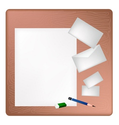 Pencil and eraser lying on a blank page vector