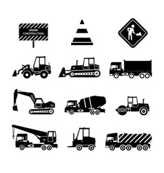 Construction machines black vector