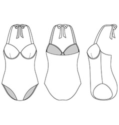 Front back and side views of blank swimsuit vector