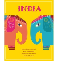 India - background with patterned elephants vector