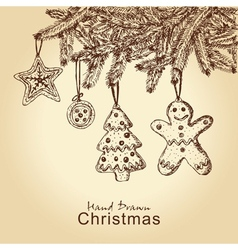 Gingerbread cookies on christmas tree vector