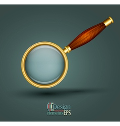Icon magnifier with wooden handle vector