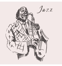 Jazz man playing the saxophone hand drawn sketch vector