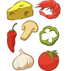 Pizza ingredient tomato cheese pepper onion vector