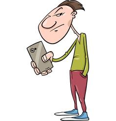 Guy shoot with smartphone cartoon vector