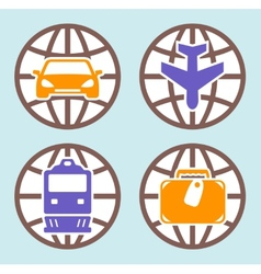 Travel isolated icons set vector