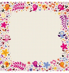 Floral border with birds vector