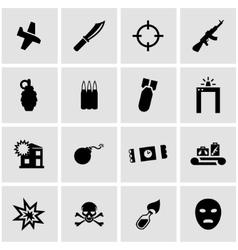 Black terrorism icon set vector