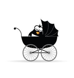 Penguin in a baby stroller vector
