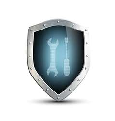 Metal shield with the image of the tool isolated vector