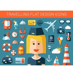 Set of modern travel flat design icons vector